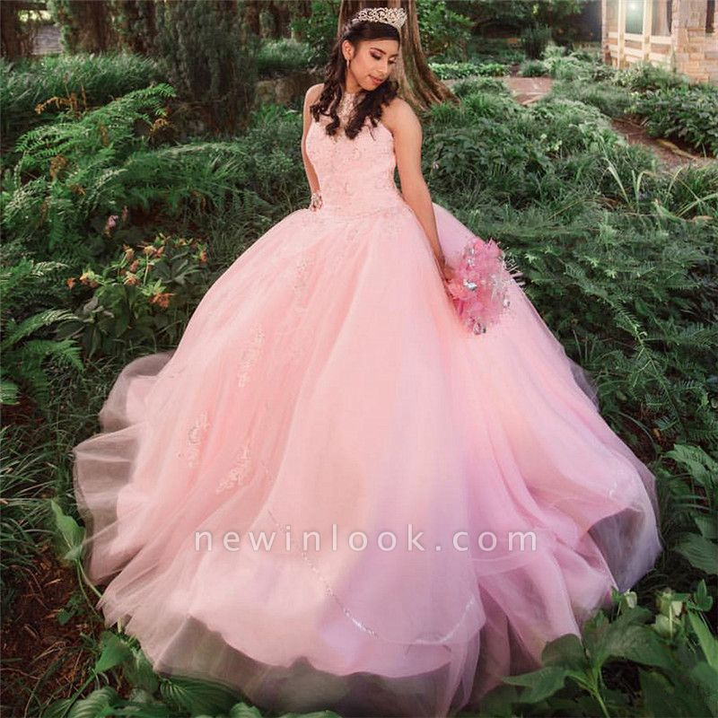 Princess High-Neck Sleeveless Appliques Beadings Pink Quinceanera Dress
