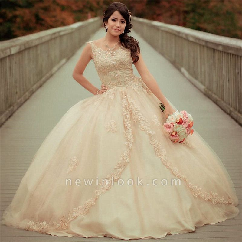 Straps Sleeveless Lace Appliques Beading Quinceanera Dress