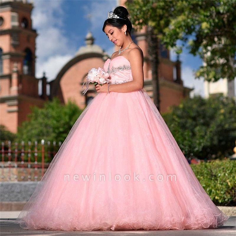 Vestidos de quinceañera elegantes de novia con cuentas sin tirantes y tul rosado