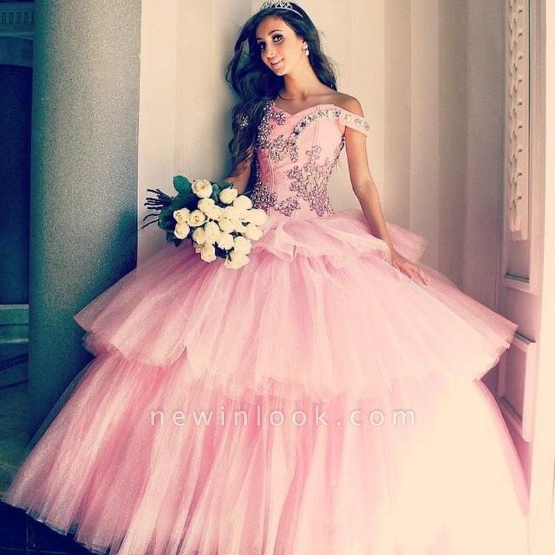 Vestidos de quinceañera rosa con apliques de tul fuera del hombro con apliques