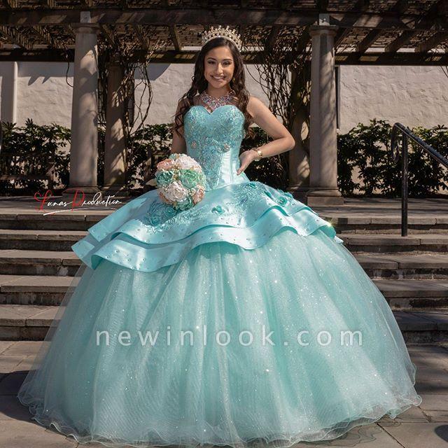 Elegantes cariño lentejuelas vestido de quinceañera con listones