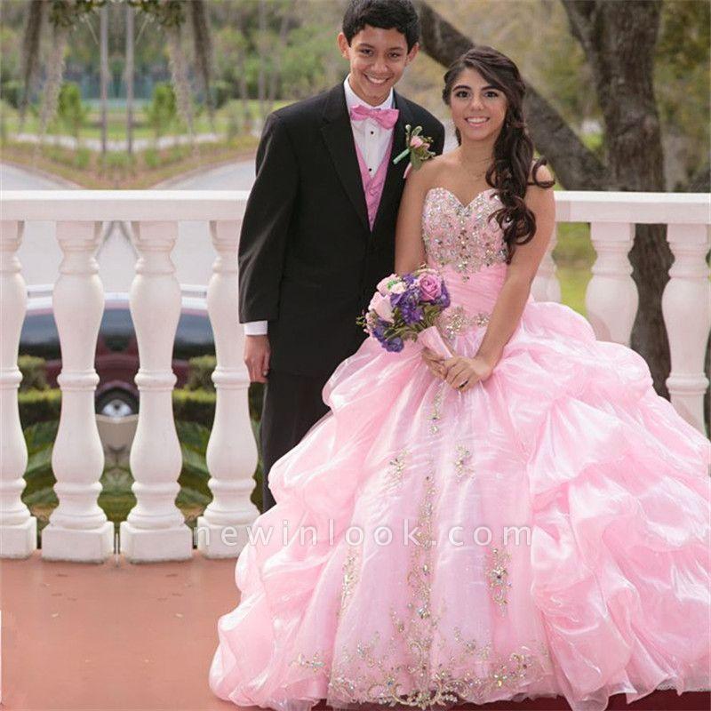 Exquisite Sweetheart Ruffles Beadings Pink Quinceanera Dress