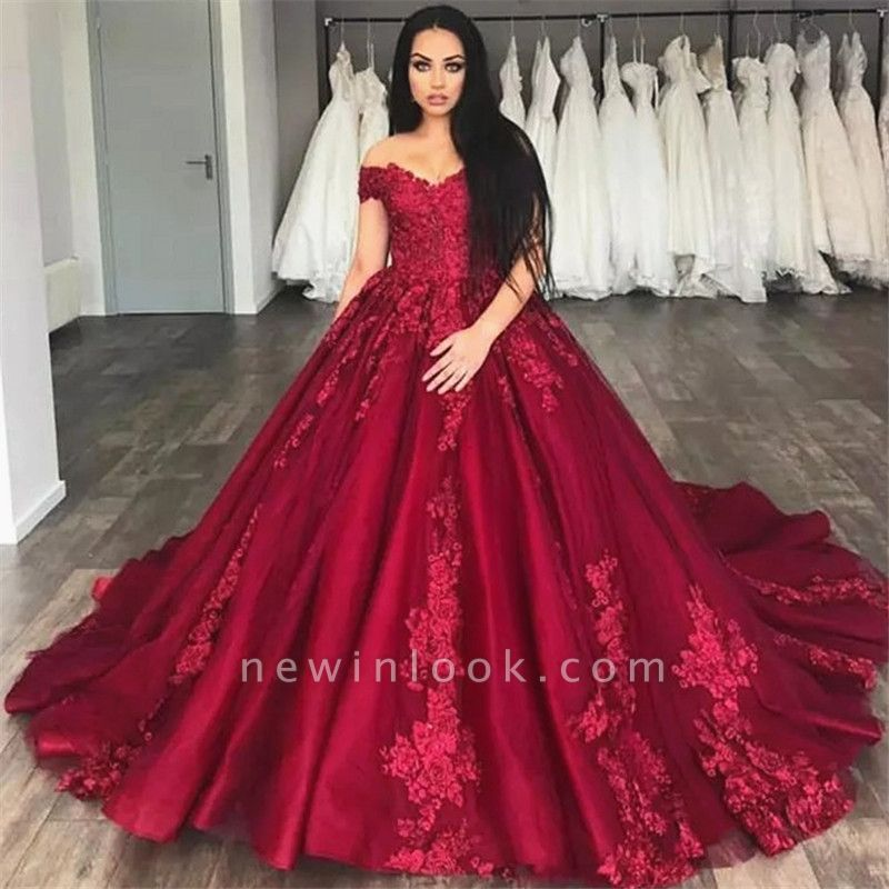 Glamorous Long Train Appliqued Off-the-shoulder Burgundy Quinceanera Dresses