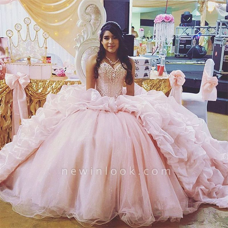 Sweetheart Beading Taffeta Ball Gown Pink Quinceanera Dresses