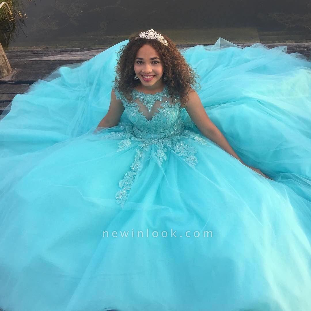 Sleeveless Appliques Ball Gown Tulle Lace-up Quinceanera Dresses