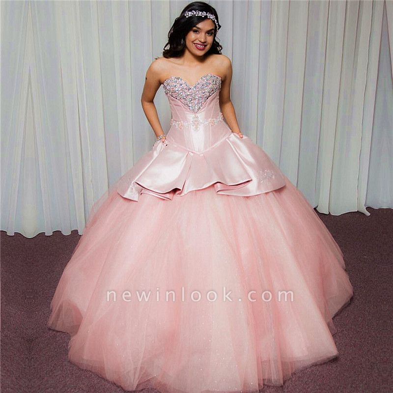 Chic Sweetheart Strapless Beading Tulle Pink Quinceanera Dresses