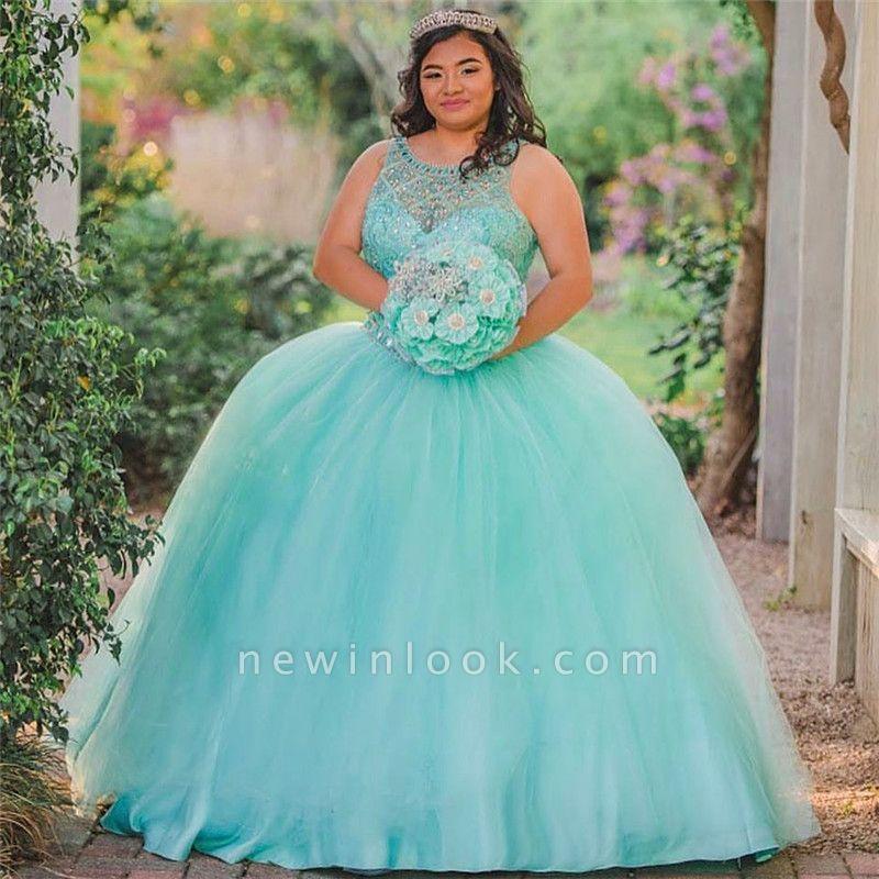 Ball Gown Jewel Sleeveless Beading Long Quinceanera Dress