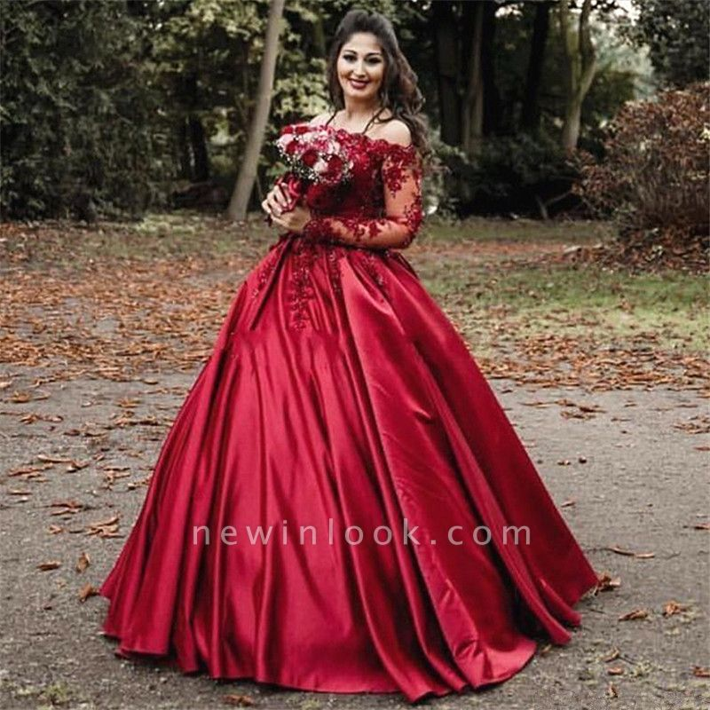 Off-the-shoulder Long Sleeves Lace Appliques Burgundy Quince Dresses