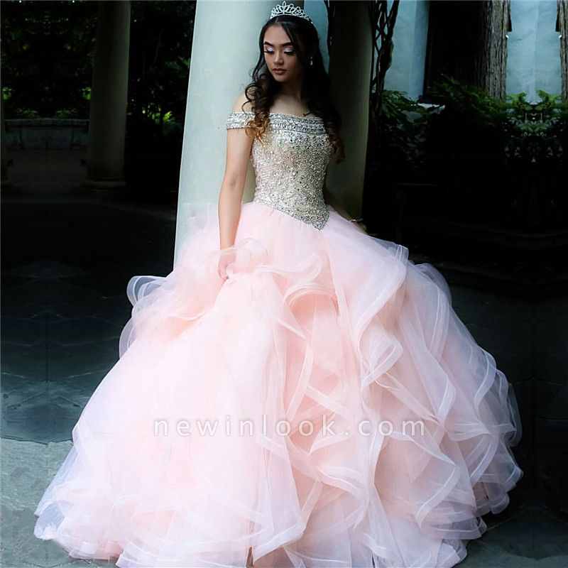 Layered Tulle Crystal Beading Off-the-shoulder Pink Quinceanera Dresses