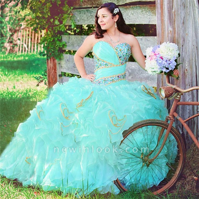 Stylish Sweetheart Beading Sleeveless Ruffles Quinceanera Dress