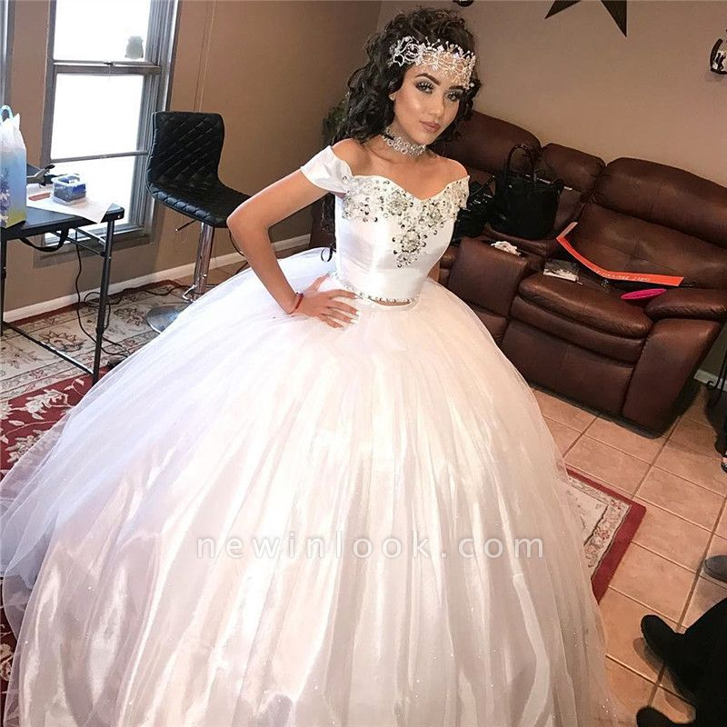Off-the-shoulder Beading Two-piece Ball Gown White Quinceanera Dresses