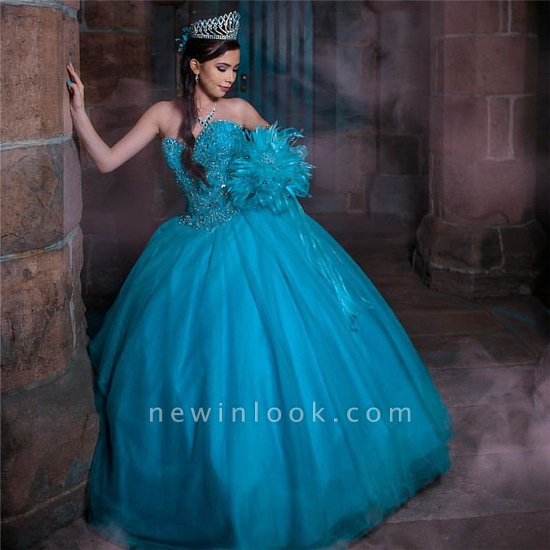 Tulle Sleeveless Sweetheart Beading Long Quinceanera Dress