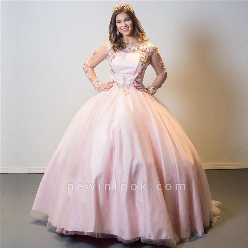 Elegant Appliques Long Sleeves Illusion Neckline Ball Gown Quinceanera Dresses