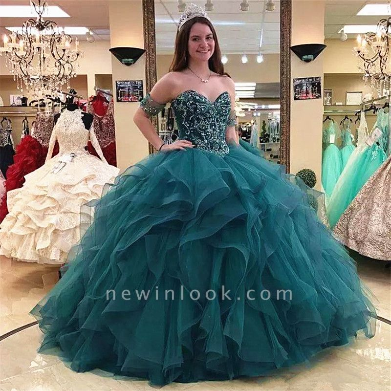 Strapless Beading Layers Tulle Green Ball Gown Quinceanera Dresses