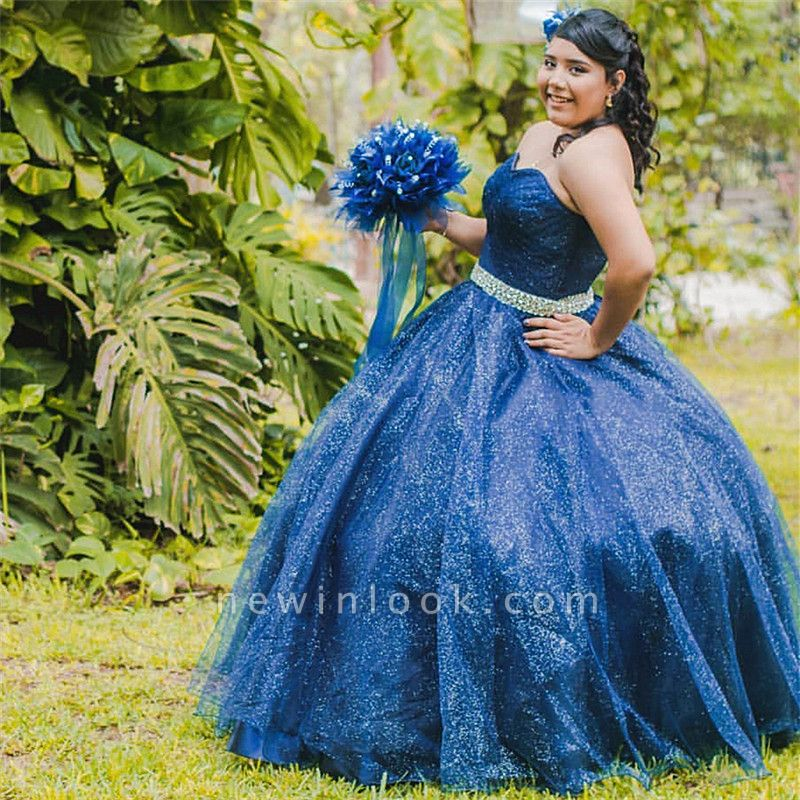Sparkly Sweetheart Strapless Crystal Sash Navy Blue Quince Dresses