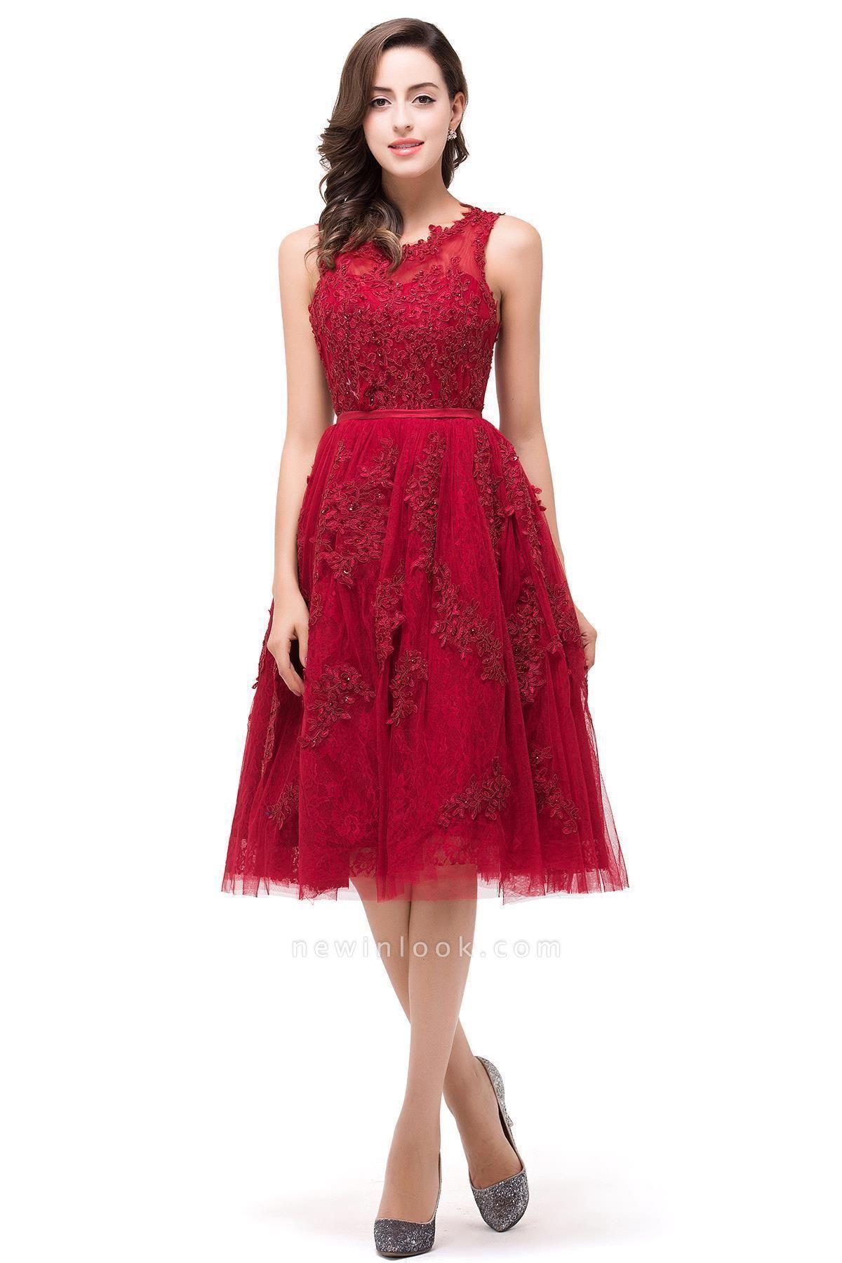 Perlas con apliques de encaje Vestidos de baile | rojo Tul Hasta la rodilla