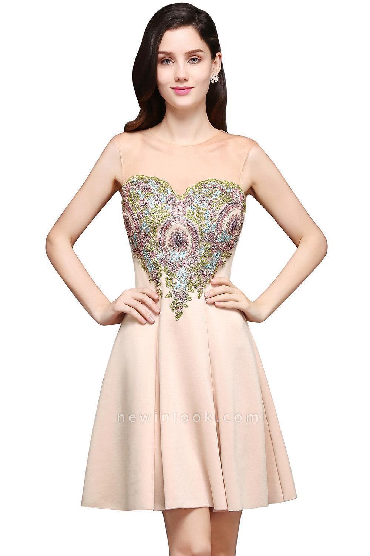 Elegante Vestido de fiesta corto | de una línea de gasa con apliques