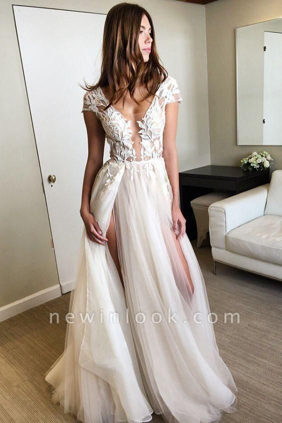 Sexy Cap Sleeve Deep V-neck With Appliques Split Tulle Wedding Dress
