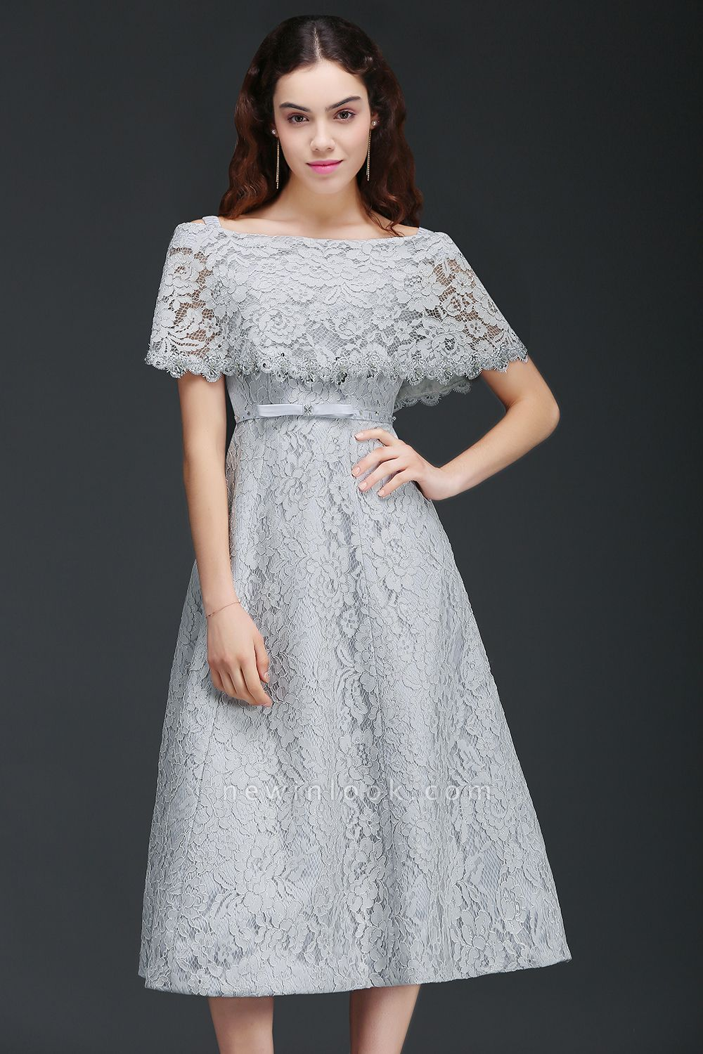 ALEXIS | A Line Off Shoulder Tea-Length Lace 15 Dama Dresses With Sash