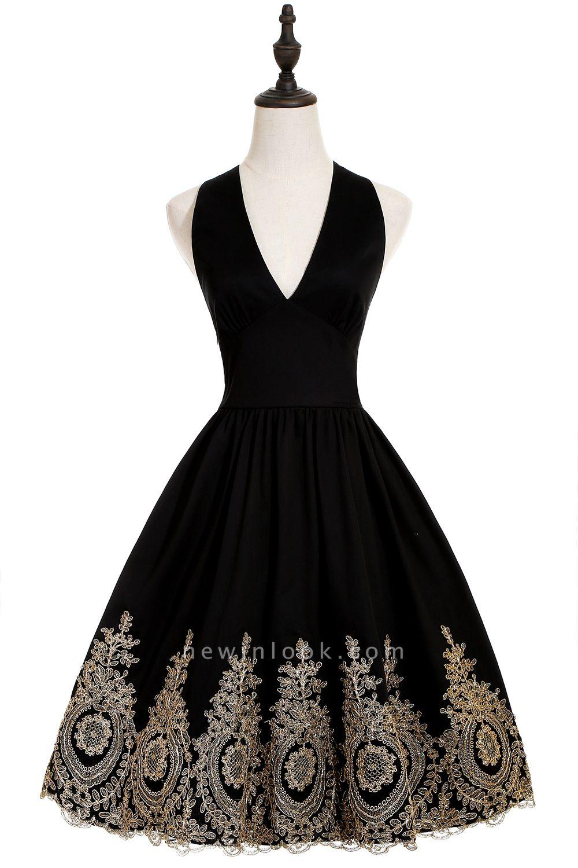 Simple vestidos de cóctel corte | cuello colgando burdeos