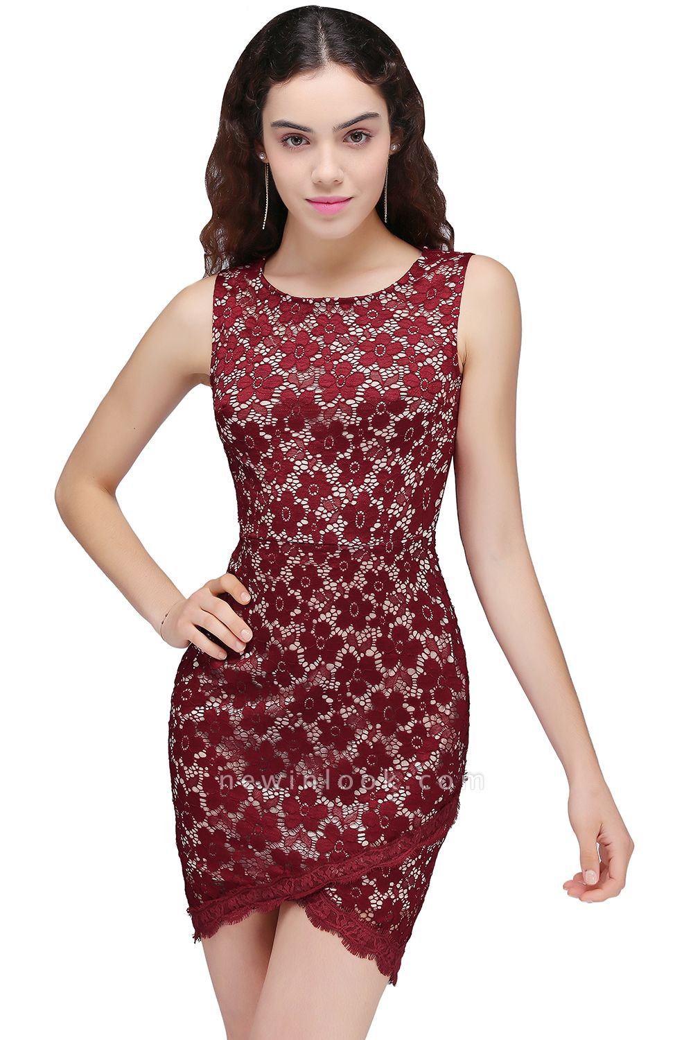 BRILEY | Bodycon Round Neck Short Lace Burgundy Quince Dama Dresses