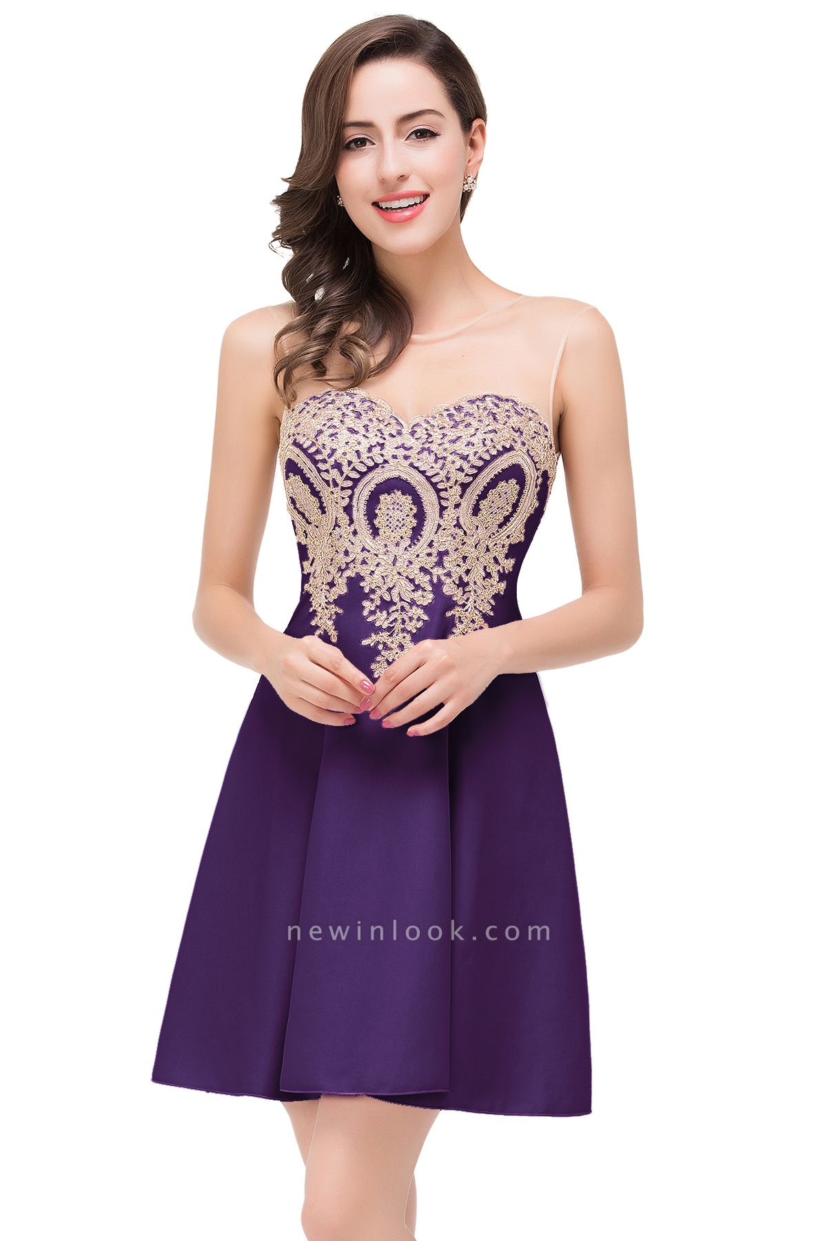 ESTHER | Quinceanera Sleeveless Chiffon Short Dama Dresses with Appliques