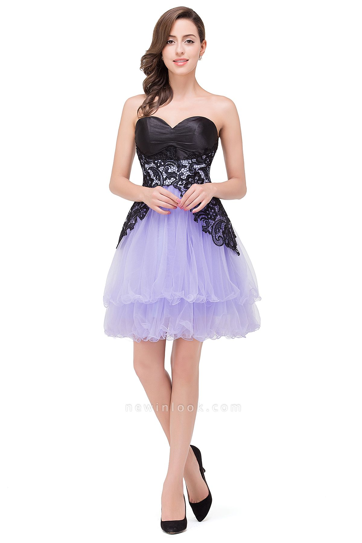 EVALYN | Quinceanera Sweetheart Short Dama Dresses with Bowknot-Sash