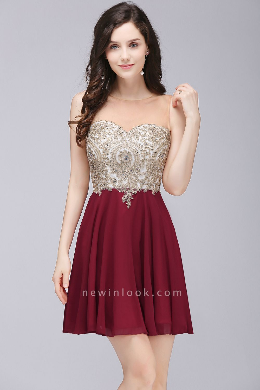 ALIANNA | Sheath Jewel Chiffon Short 15 Quince Dresses With Applique