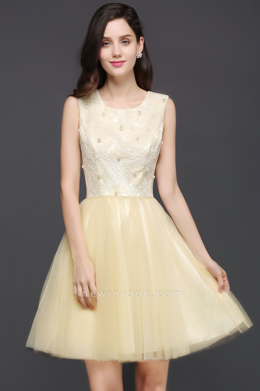 Vestido de baile de tul parte superior del tubo | hasta la rodilla con cuello princesa