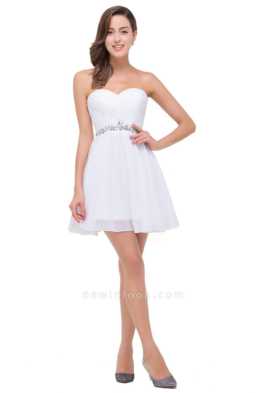 Mini A-linea rebordear vestidos de baile | cari_o corto encantador