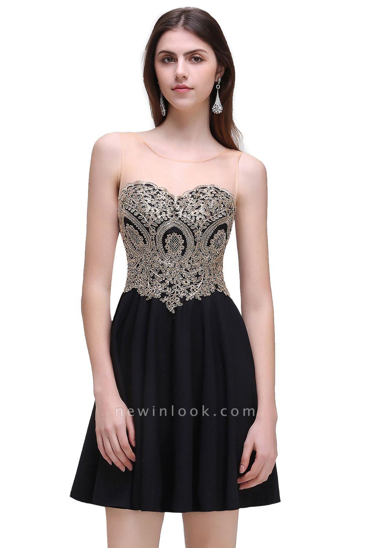 CAITLIN | Quinceanera Short Chiffon Black Dama Dresses with Appliques