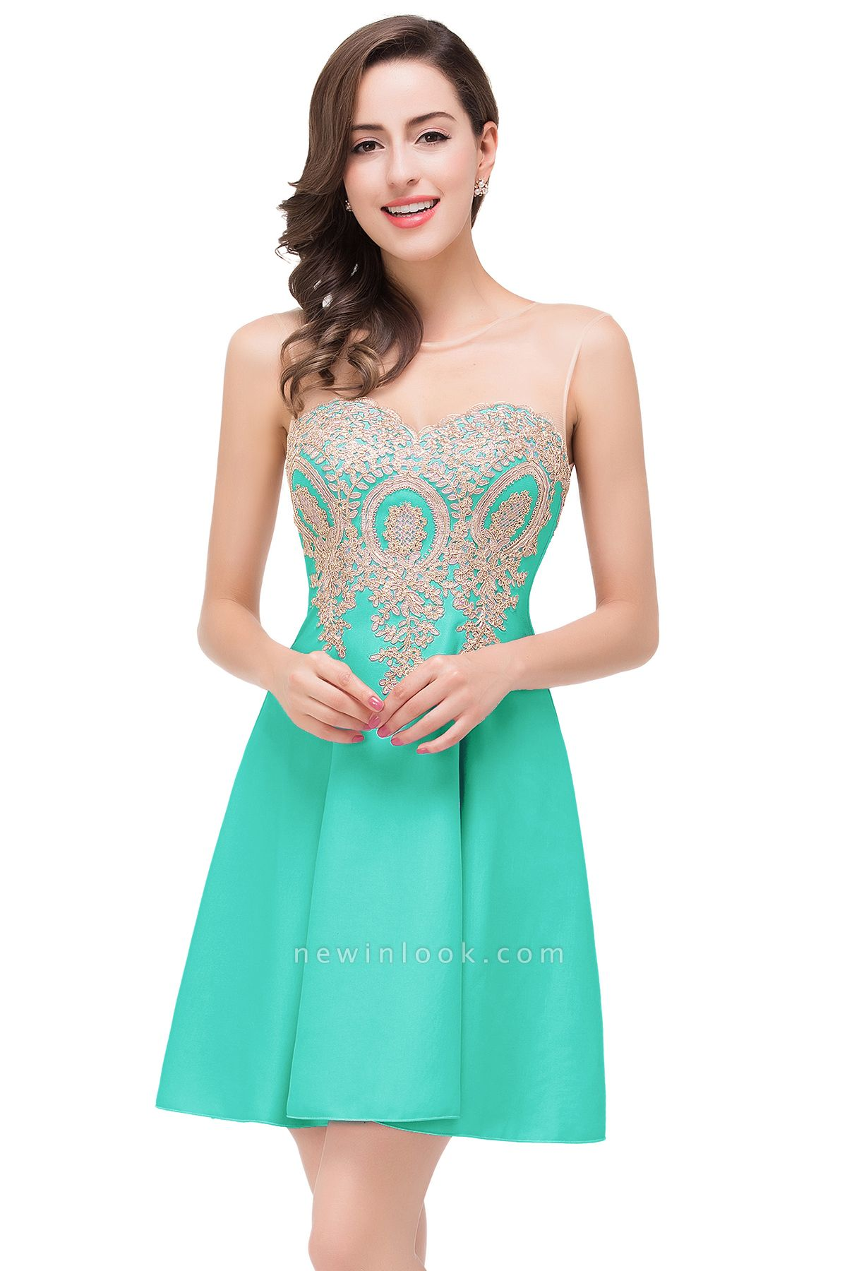 ESTHER   Quinceanera Sleeveless Chiffon Short Dama Dresses with Appliques