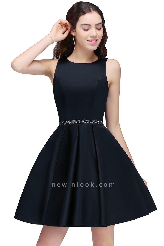 A-Linea cuello redondo vestido de regreso al hogar | con cristal corto oscuro marino elegante