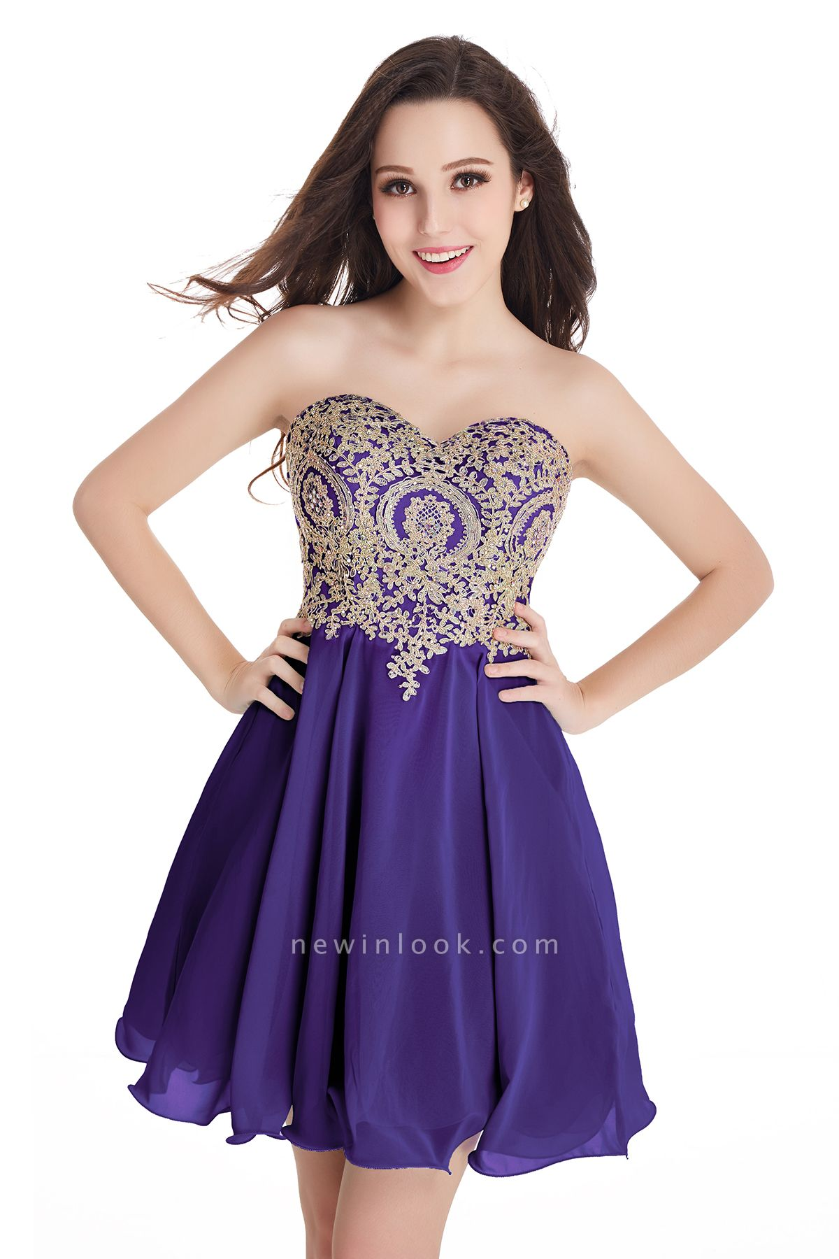 CYNTHIA | Quinceanera Strapless Short Chiffon Dama Dresses with Beadings