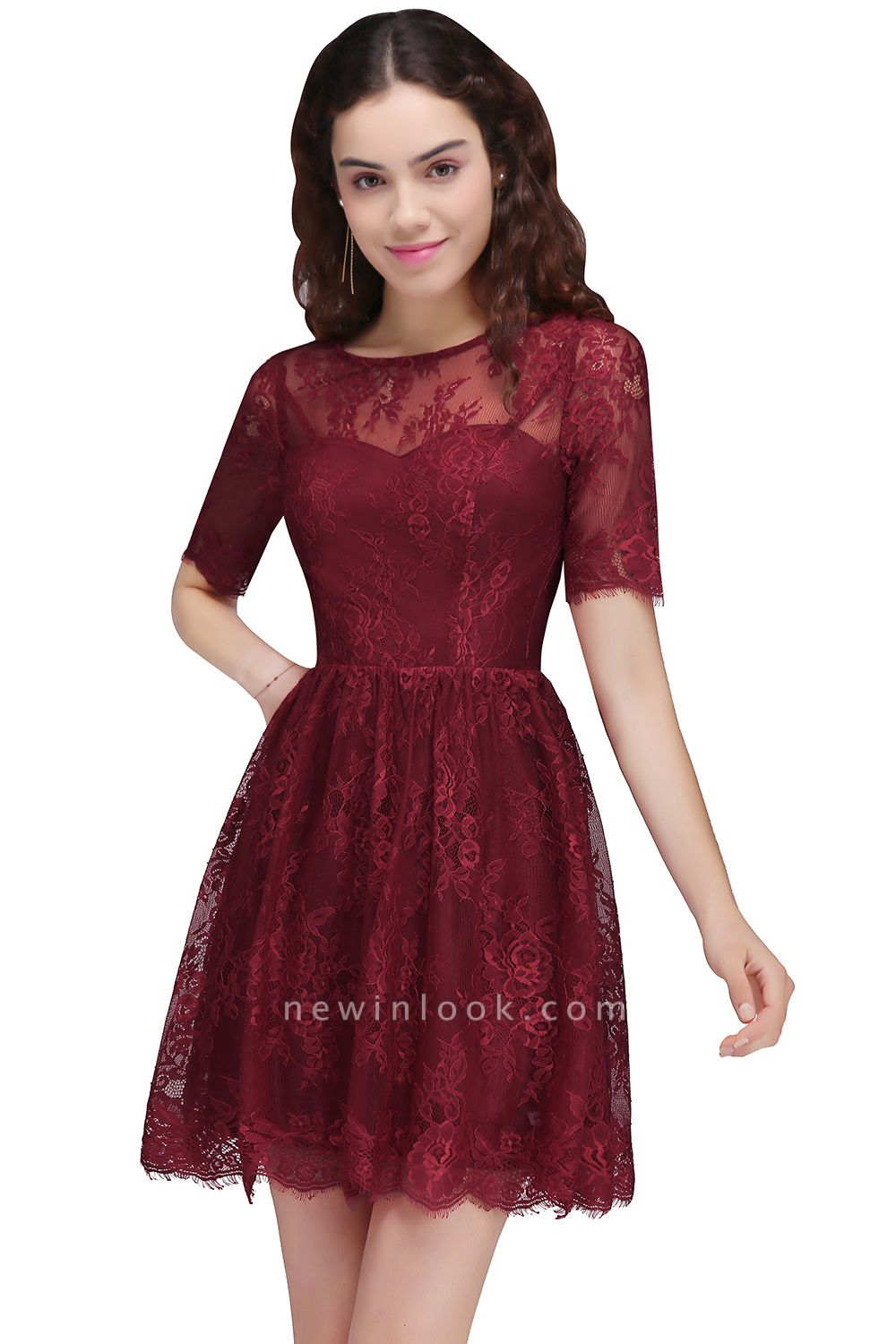 BRITTANY | Quinceanera Round Neck Short Lace Burgundy Dama Dresses