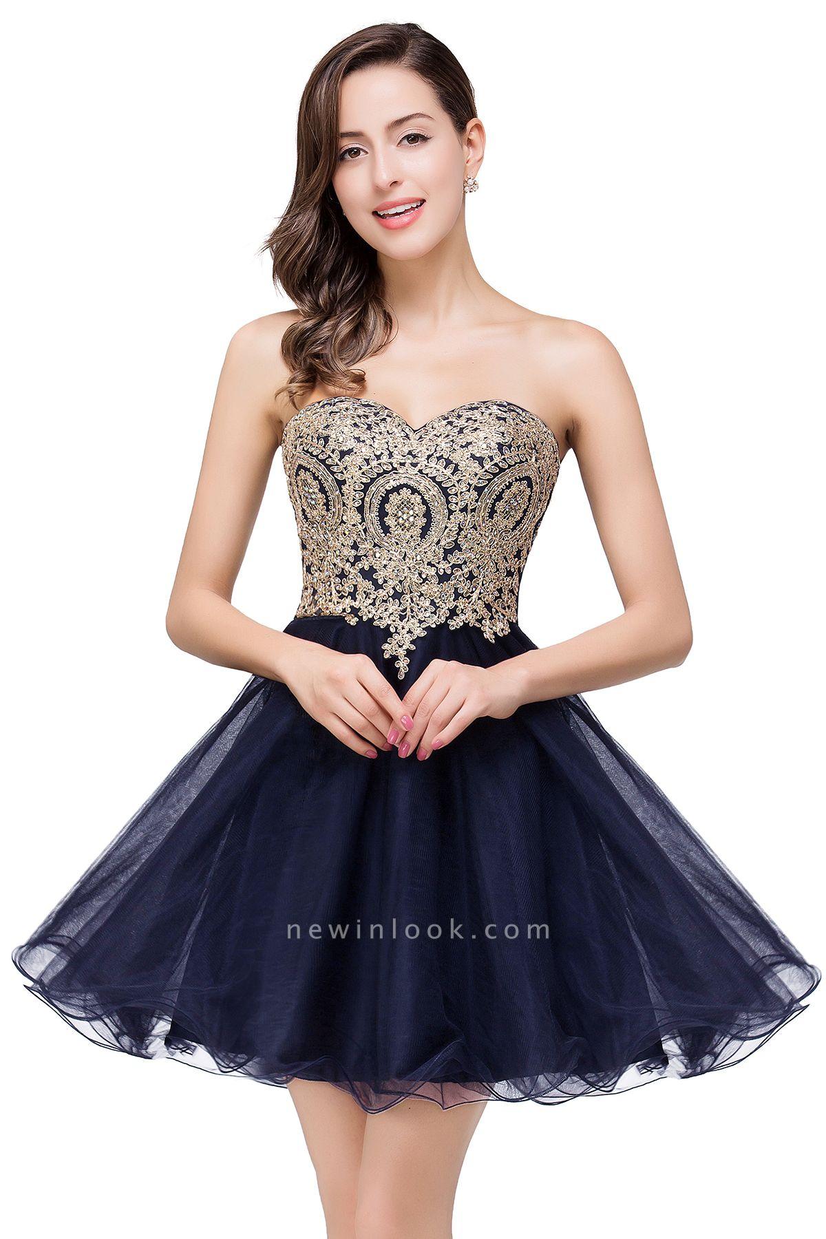 Gabriela | A Line Lace Appliques Sweetheart Short Quince Dama Dresses
