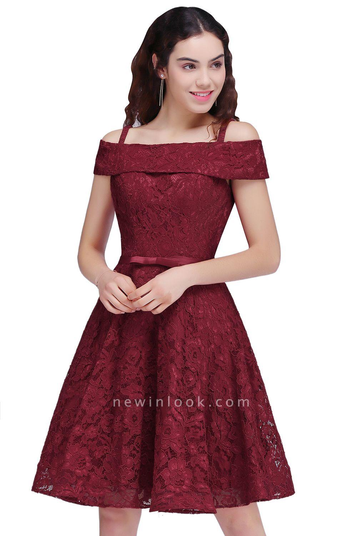 vestidos de fiesta de borgo_a | Una línea de espagueti correas de encaje corto