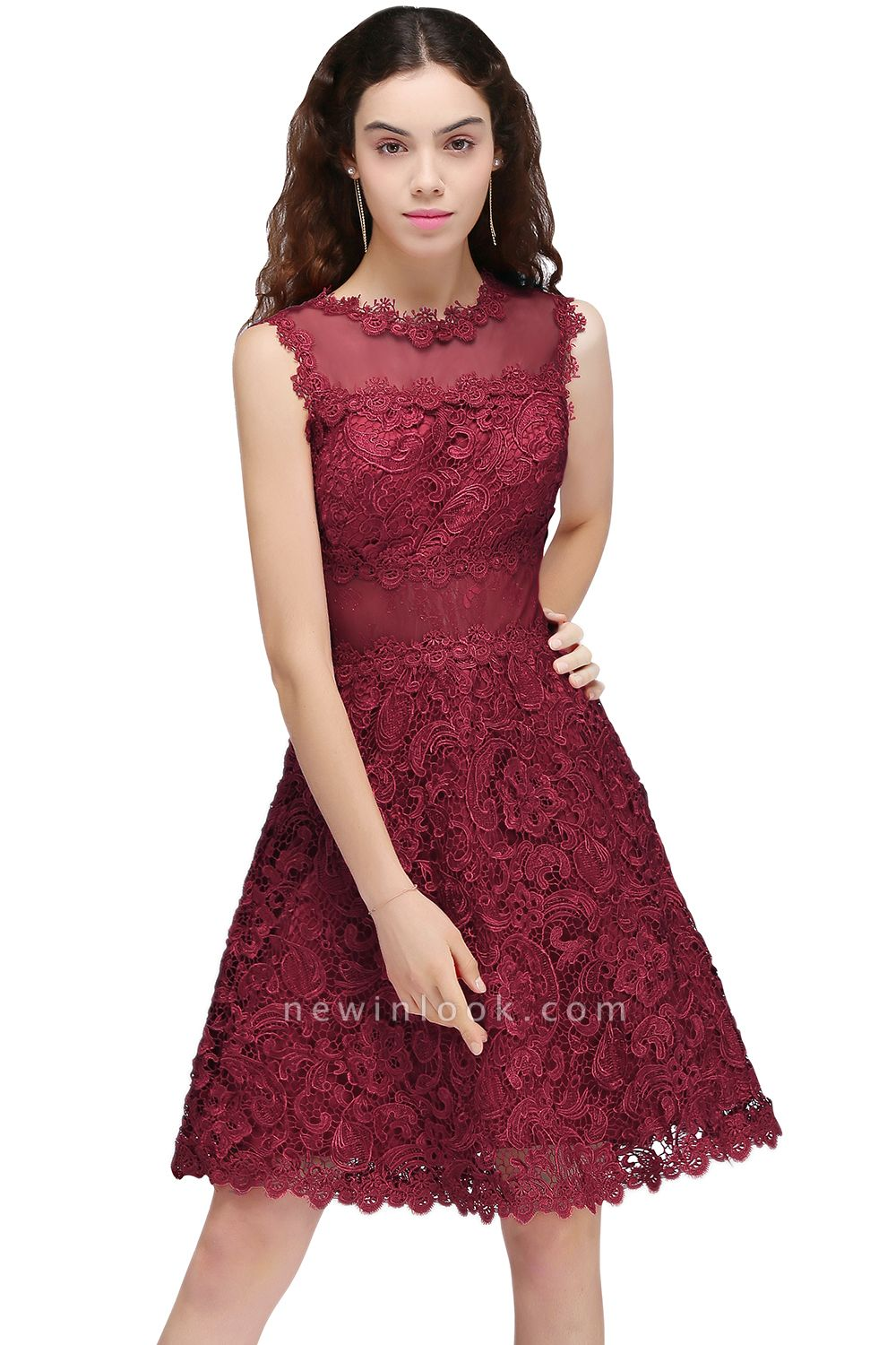 BRIA | Quinceanera Round Neck Short Burgundy Lace Dama Dresses