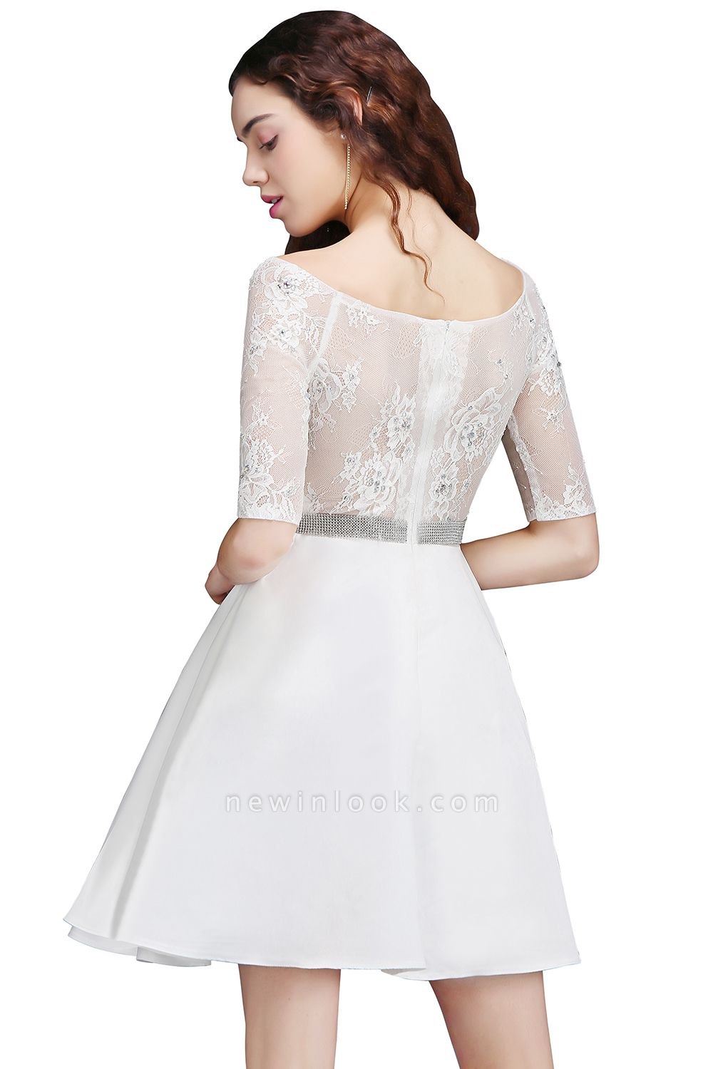 ALICIA | A Line Jewel White Short Sleeve Satin Quince Dama Dresses With Lace