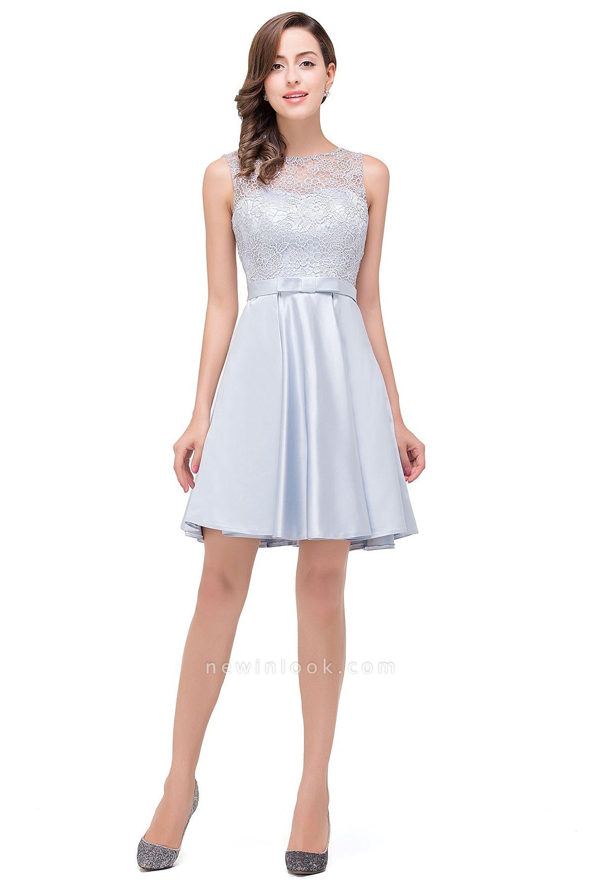 Vestidos de baile cortos de encaje | sin mangas de raso elegante hasta la rodilla