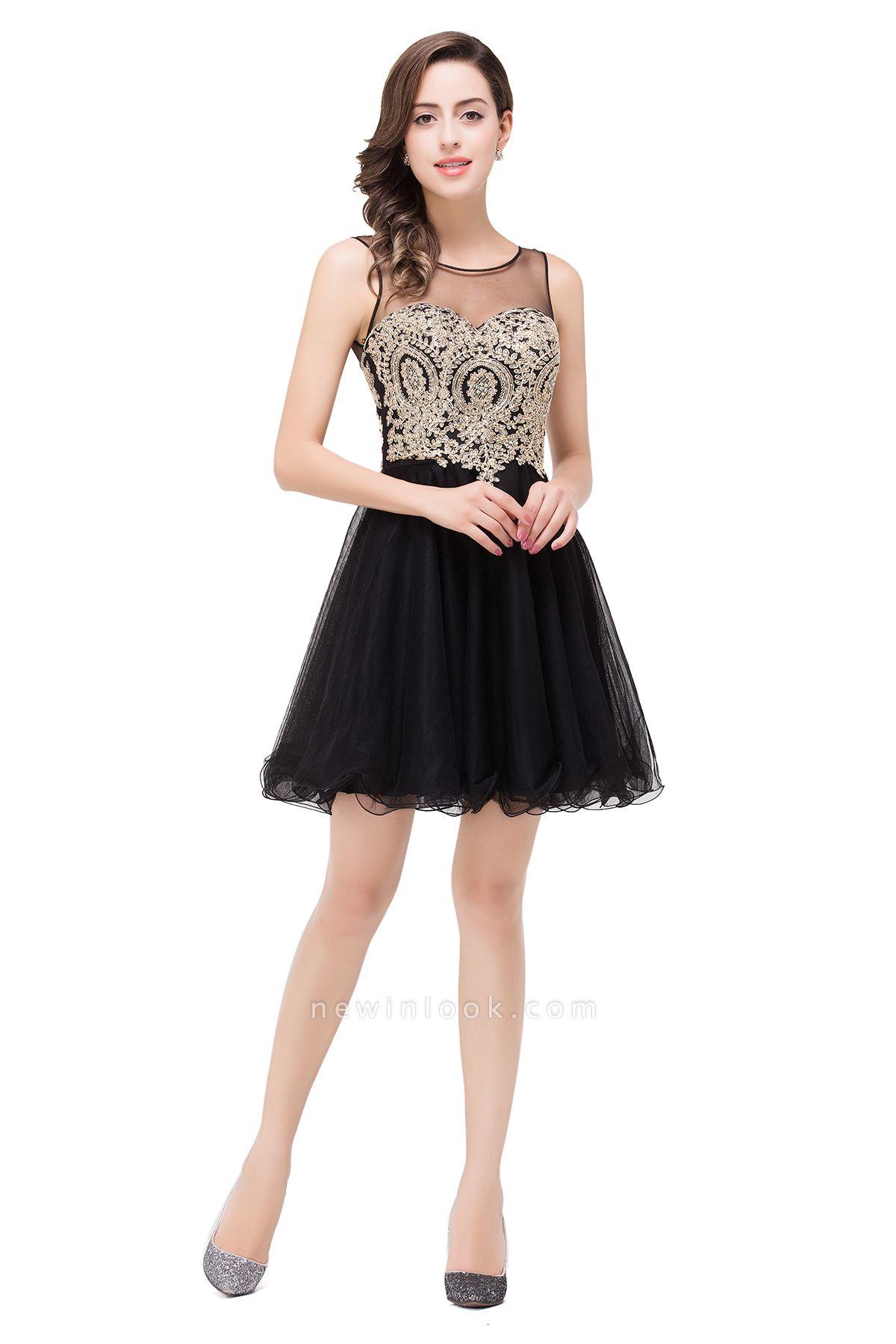 Vestido corto de fiesta sin mangas | con apliques de organza