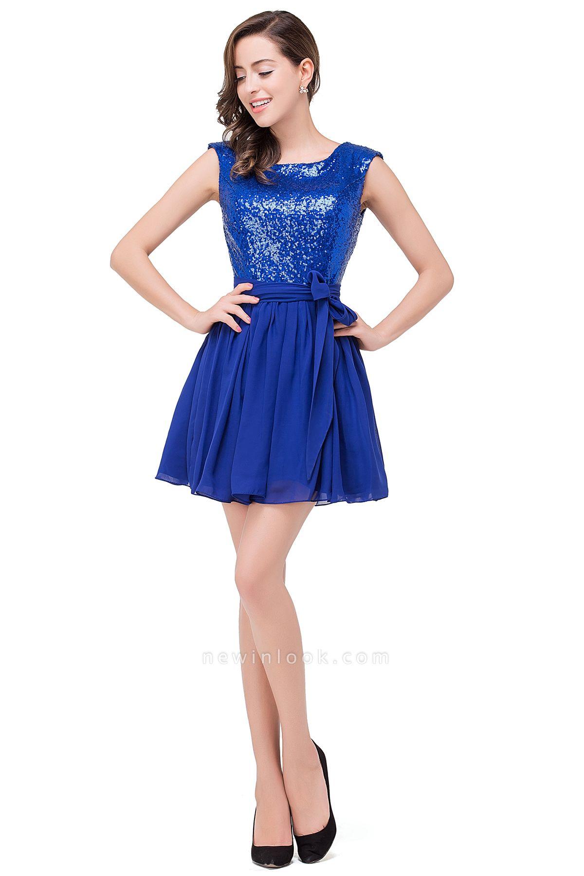 EMERSYN | Quinceanera Sleeveless Sequins Chiffon Short Dama Dresses