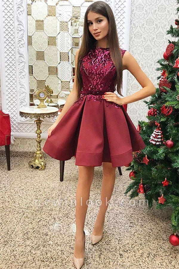 2019 vestidos cortos sin mangas de regreso a casa rojo | Una línea de lentejuelas vestido de regreso a casa barato