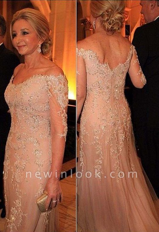 Long Lace Appliques Beadings Evening Gowns with Sleeves Sexy Quinceanera Mother Dresses