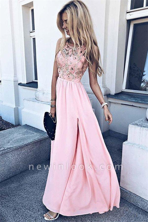 Pink Sleeveless Lace Formal Dresses | Elegant Side Slit Sleeveless Evening Gowns