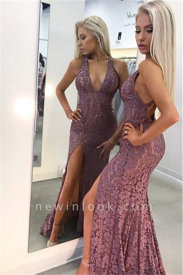 Elegant Sexy V-Neck Lace Sleeveless Affordable Banquet Dresses | Open Back Side Slit Alluring Formal Dresses with Beading