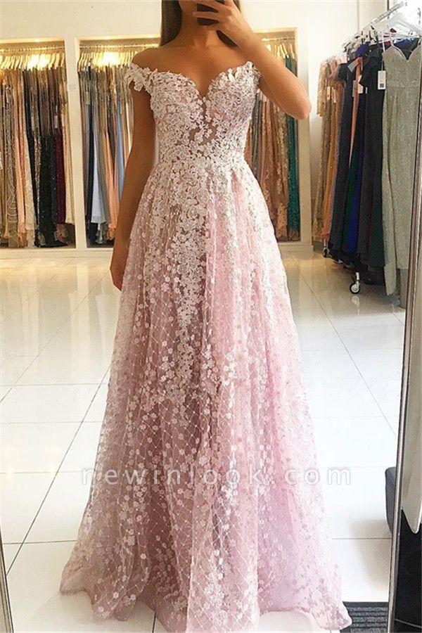 2019 vestidos de noche elegantes de encaje rosa   Fuera del hombro una línea de vestidos de noche baratos