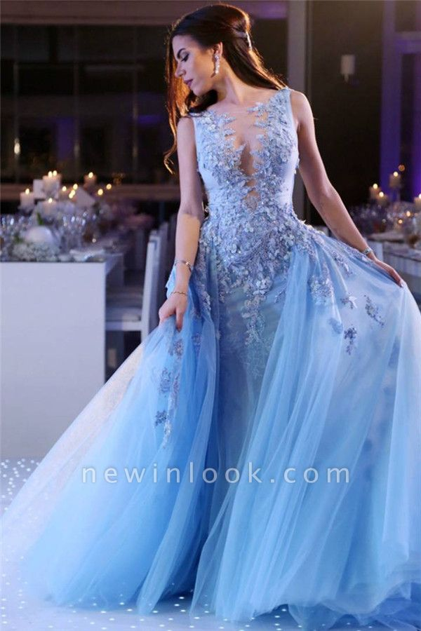 Sky Blue Lace Appliques Affordable Banquet Dresses | Sleeveless Alluring Overskirt Tulle Beads Evening Dress