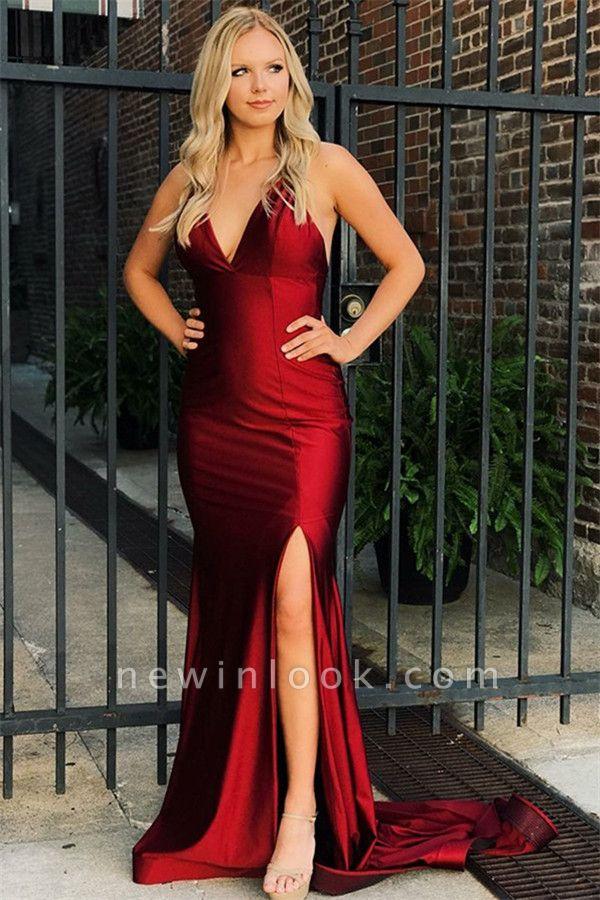 Vestidos de fiesta de sirena con cuello en V rojos simples | 2019 vestidos de noche de espalda abierta baratos