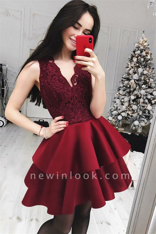 Burgundy Lace Short Sexy V-Neck Quince Dama Dresses 2019 | Cheap Lace Tiered Dama Dresses Online